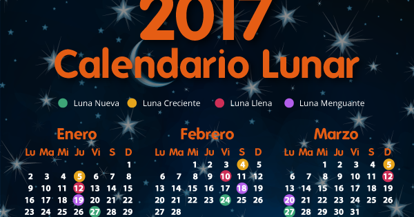 Misionero ambiental calendario lunar 2017 y 2018 for Calendario de luna creciente 2016