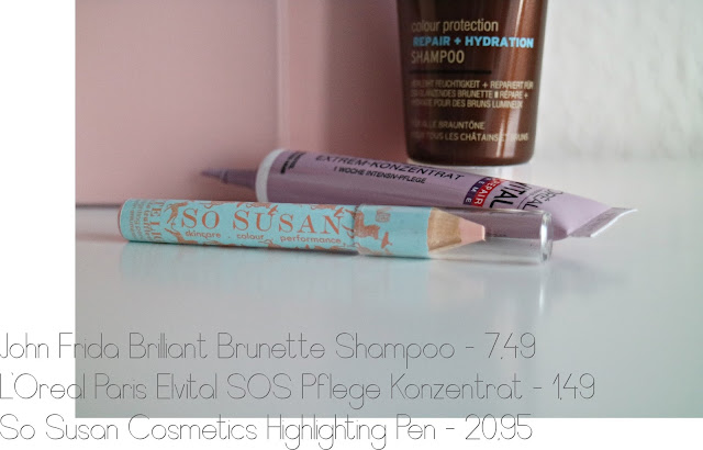 Glossybox | Januar - www.josieslittlewonderland.de - john frieda, brilliant brunette color protection repair+hydration shampoo, l'oréal elvital total repair sos-Pflege konzentrat, so susan haute light highlighter pen