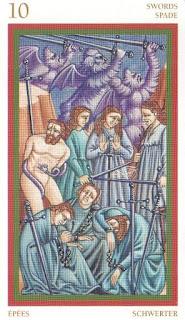 Десятка Мечей перевернутая - Таро Джотто