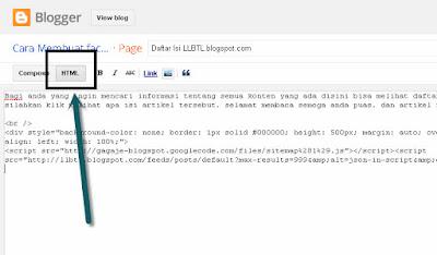 cara membuat daftar isi blog