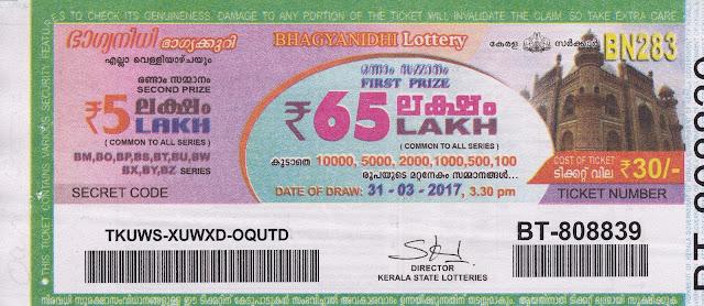 13.11.2015 BHAGYANIDHI (BN-212) Lottery Result