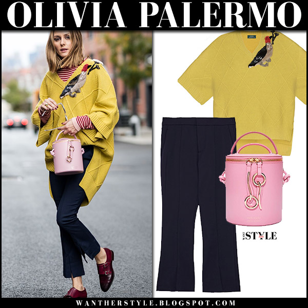 Olivia Palermo in yellow knit sweater alena akhmadullina, navy trousers, burgundy loeafers santoni with pink bag meli melo severine street style december 2017