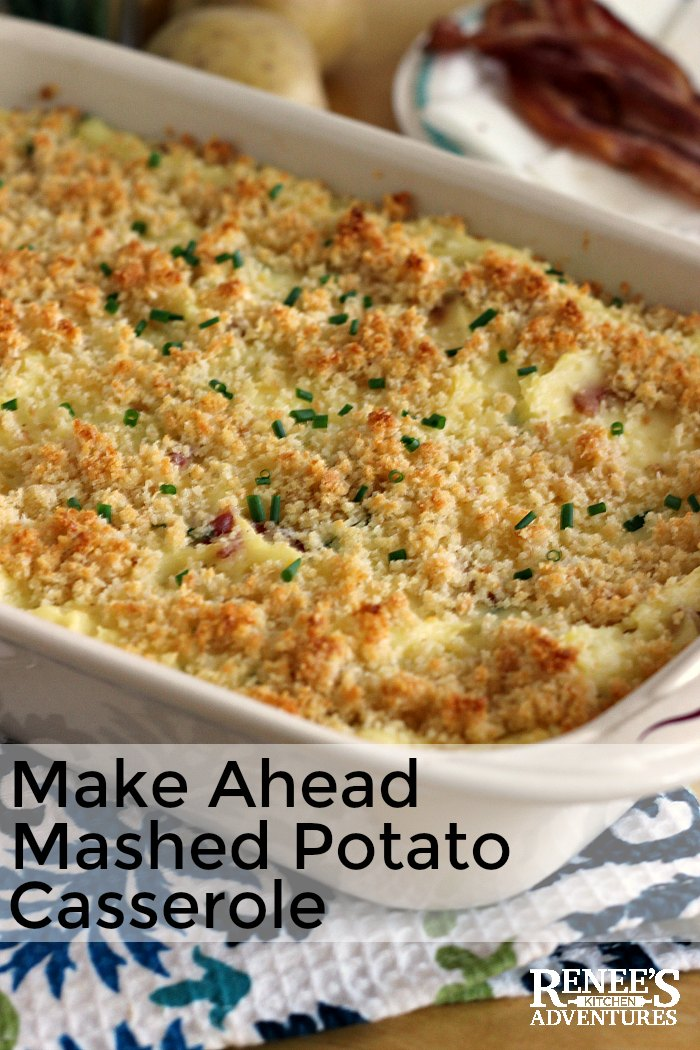 Loaded Mashed Potato Casserole by Renee's Kitchen Adventures is an easy recipe for a mashed potato casserole that can be made up to 3 days ahead and then baked before serving. Full of cheese, bacon, sour cream and chives. Perfect holiday side dish or side dish for any meal. #mashedpotatoes #casserole #holidaysidedish #sidedish