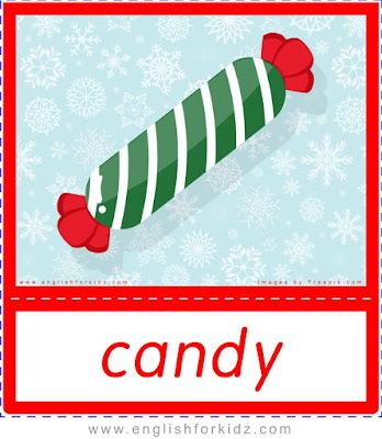 candy, free Christmas flashcards for ESL teachers