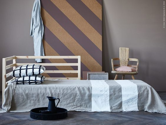 image result for ikea hack with painted linen fabric stripe coverlet bedspread