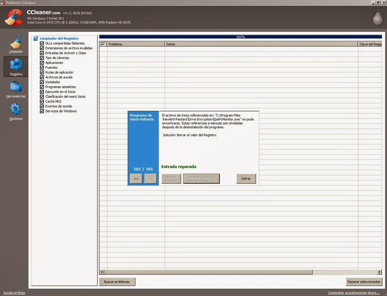 Reparar problemas del registro con CCleaner