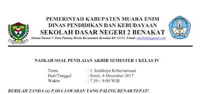 Soal PAS Kelas IV Semester 1