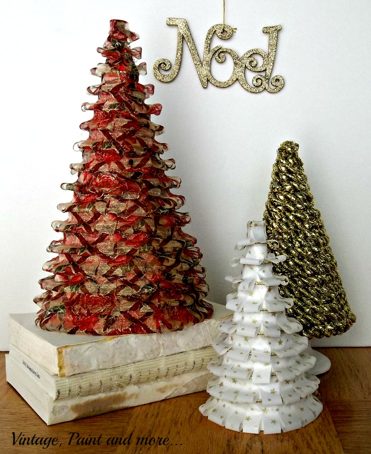 Vintage, Paint and more... cone trees made from ribbon, poster board and rope tinsel