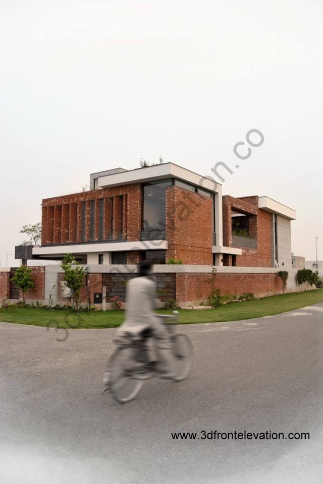 Brick Front Elevation Designs : D front elevation modern house with red bricks tiles