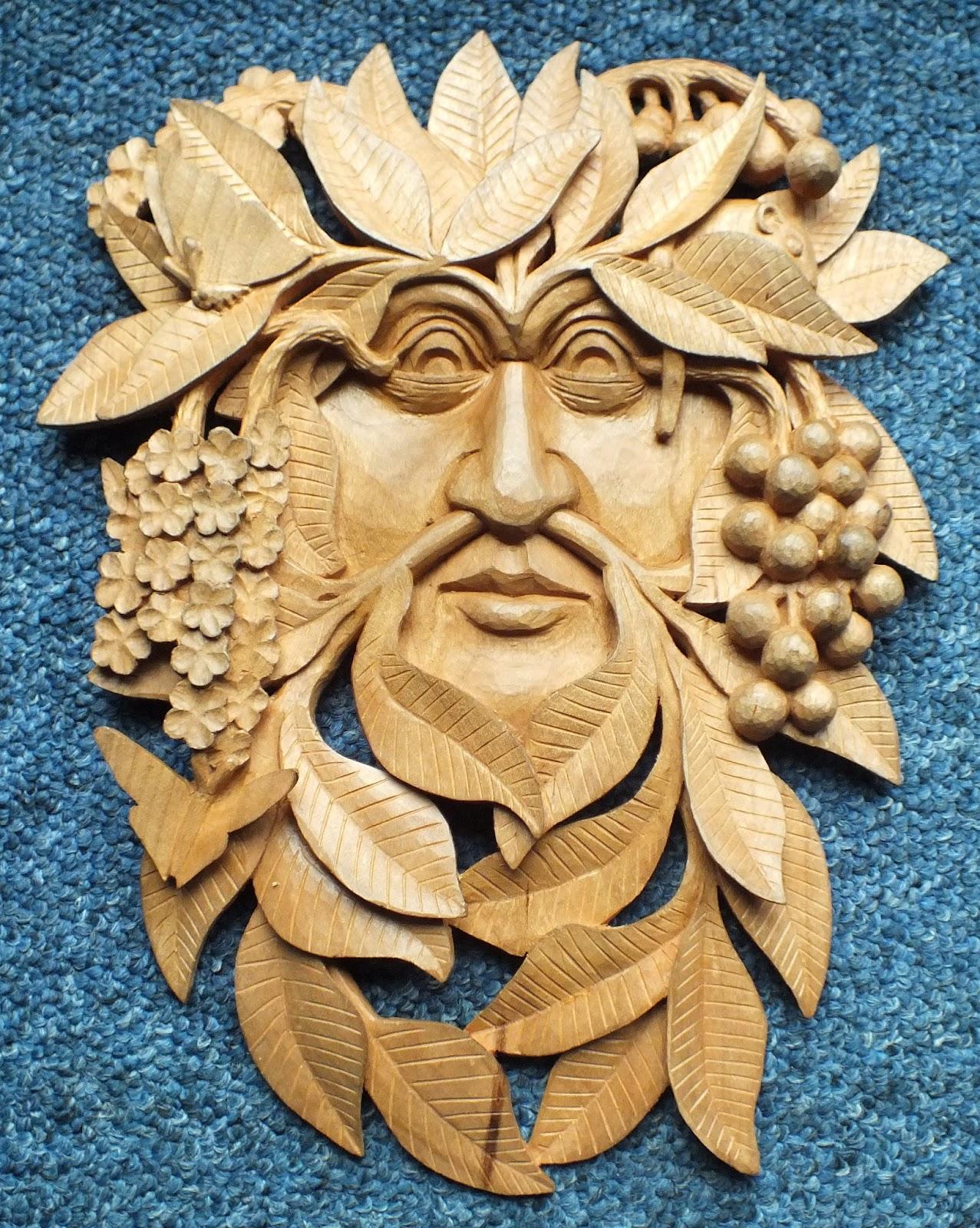 Mini wood carving wood spirit santa ornament hand carved
