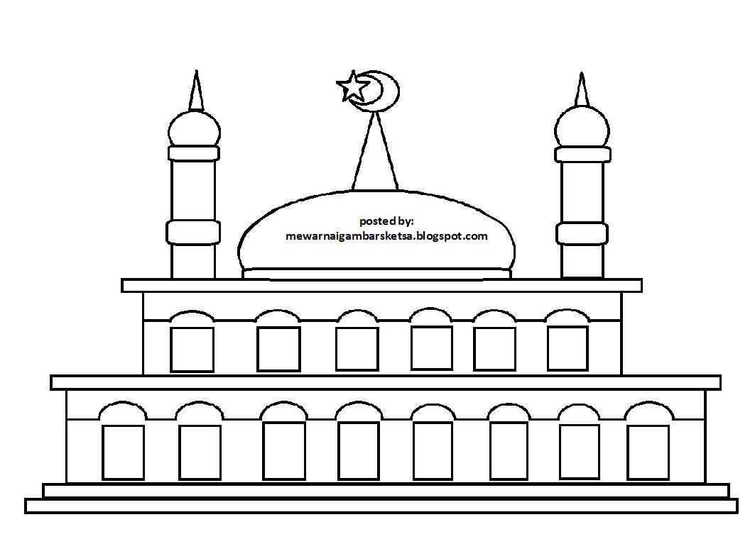 Mewarnai Gambar Mewarnai Gambar Sketsa Masjid 21