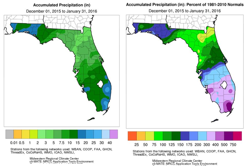 Florida Rainfall Map.Community Collaborative Rain Hail Snow Network A Wet Winter In