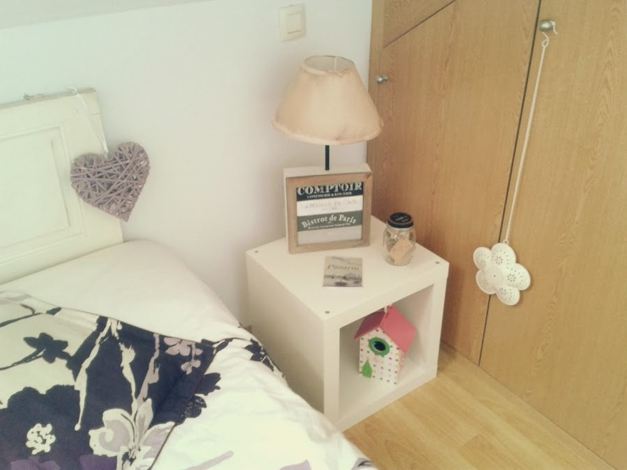 Lampara habitación dormitorio madera mesita noche romántico vintage night lamp wood original bedroom romantic chic
