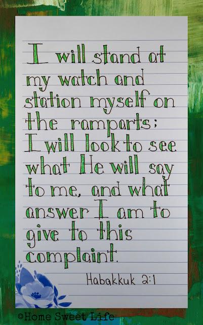 Scripture Writing, Habakkuk 2:1, hand lettering