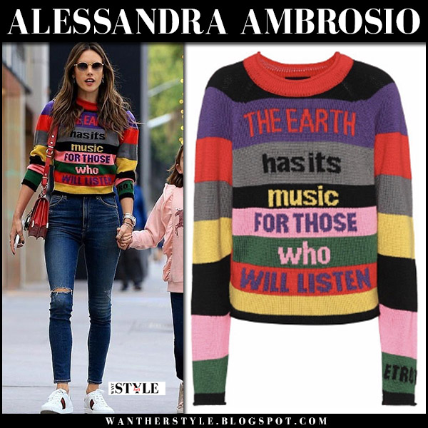 Alessandra Ambrosio in striped knit sweater etro and skinny jeans with white sneakers gucci street style fashion december 2