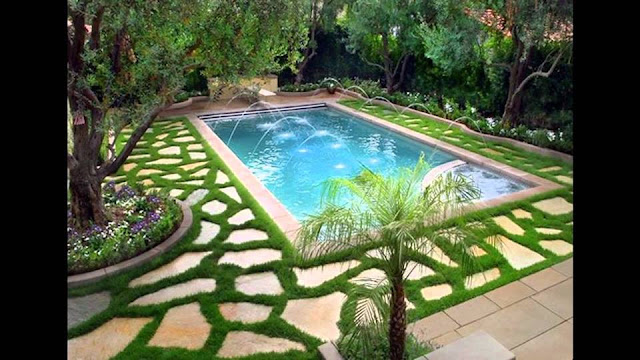 Tropical Chinese Backyard Swimming Pool Waterfall Design Ideas