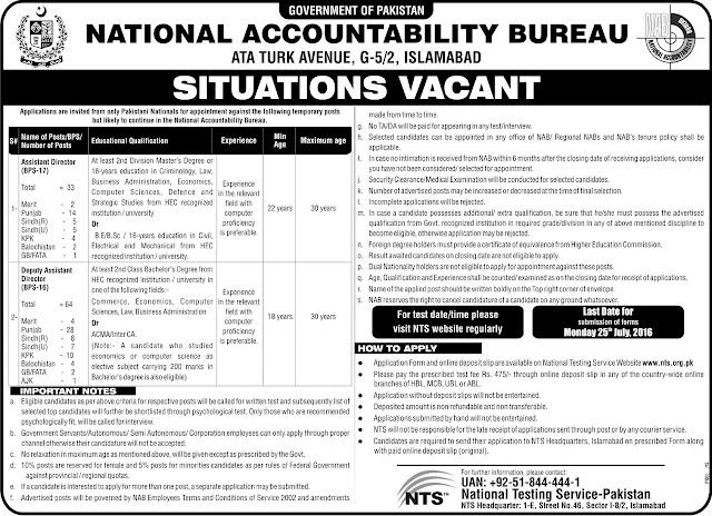 Govt Jobs in NAB National Accountability Bureau Jobs