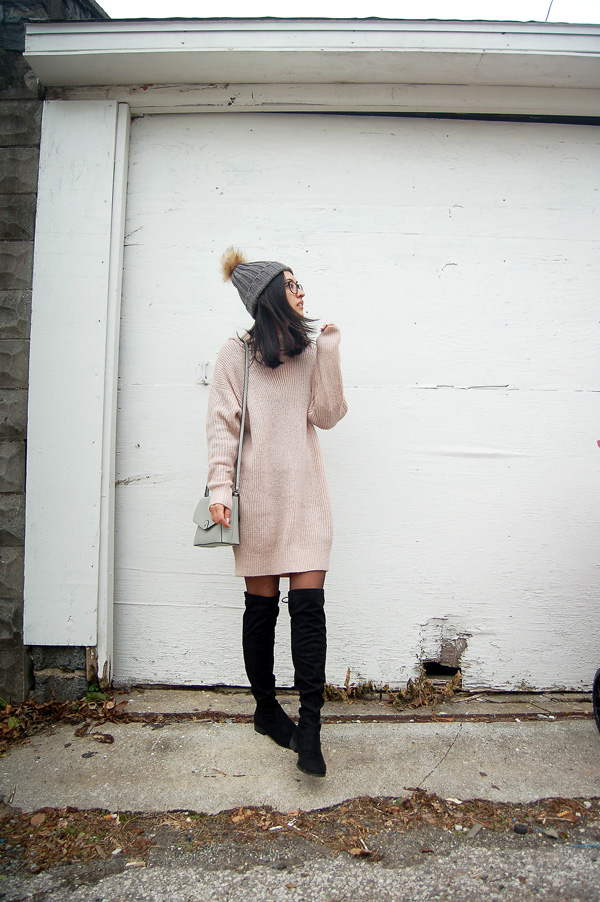 Beanie Pink Sweater Dress Over Knee Boots