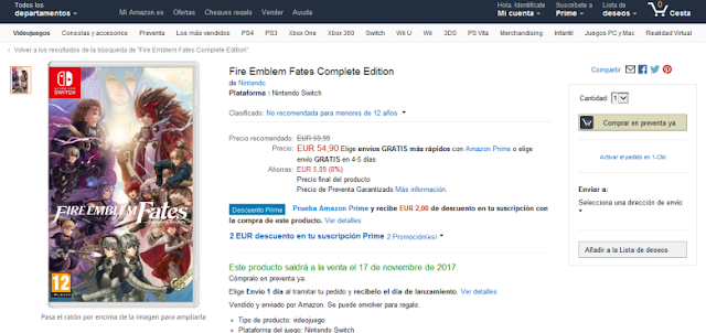 Rumor | Amazon lista Fire Emblem Fates Complete Edition para Nintendo Switch