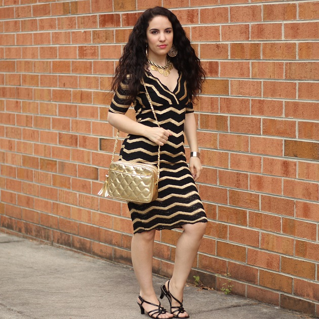 Black and Gold Chevron Pattern Dress