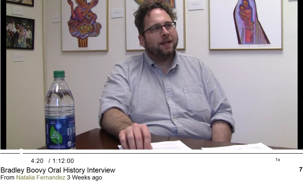 OSU German Professor Bradley Boovy helps archivist for OSU Queer Archives create oral history videos