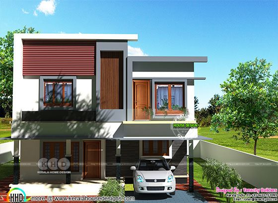 Flat roof style modern house rendering