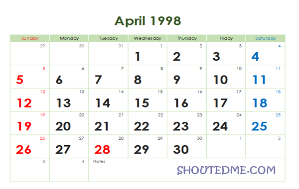 Kalender 1998 Masehi Bulan April