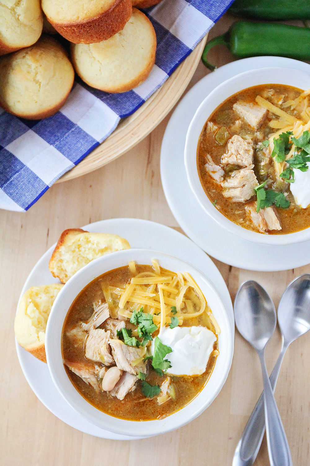 This savory pork verde chili is full of flavor and so hearty and delicious!