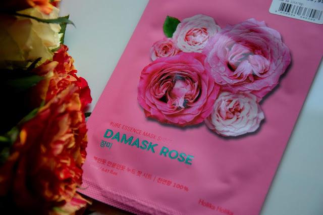 Nawilżenie suchej skóry koreańską maseczką || Holika Holika Damask Rose