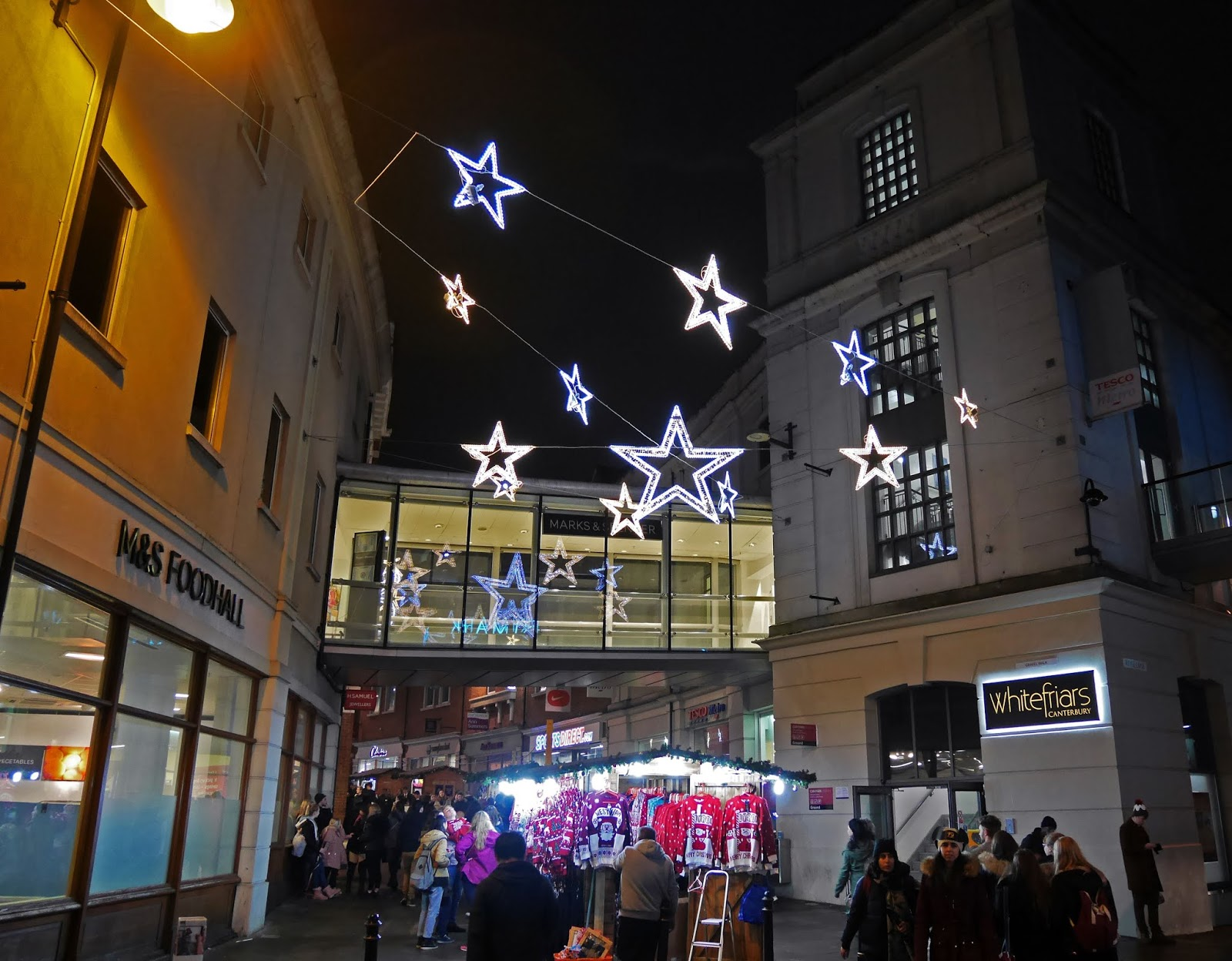 Star-shaped Christmas lights in Canterbury, Kent