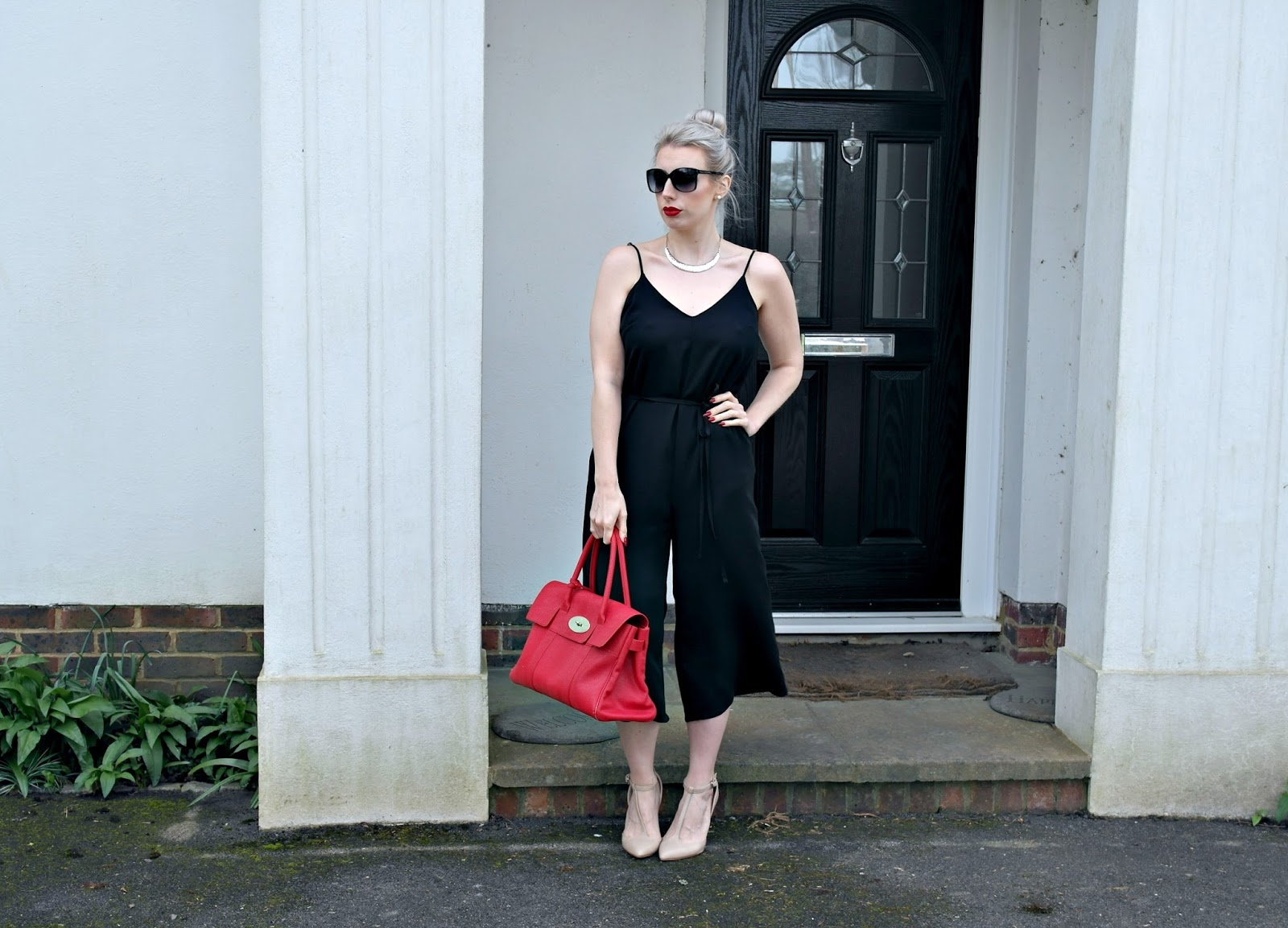 black culotte jumpsuit, river island, fashion blogger