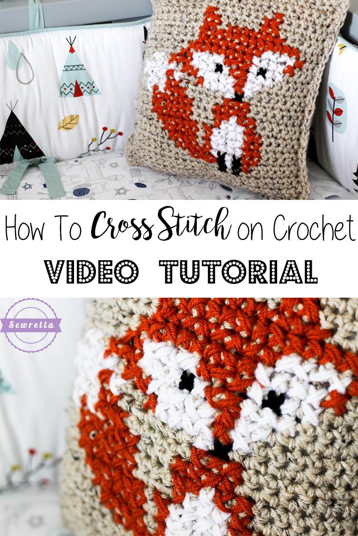 How to Cross Stitch on Crochet & Parker\'s Fox Pillow - Sewrella