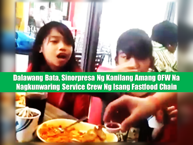 "A regular visit to their favorite fastfood chain when a surprise from their OFW father broke them down to tears after 3 years of not being able to come home.  They did not recognized him at first thinking that hes just some fastfood crew doing his job. Until one of the girls noticed something he was wearing on his wrist.  An OFW LIFE and the sacrifices of the parents.  My brother in law has been working as a nurse in Dubai for more than 3 years now and have not come home since then.My sister is currently working in Bohol entrusted us their two daughters meanwhile that she just returned work after finishing her Doctorate.  Flashback: Breanna and Chayyen had survived a lot in life at their very young age,the separation from their parents was the hardest, they are an Earthquake victims too in Bohol. My sister Reizl ,their mother had to study PH.d , and she has to secure her two daughters and decided that they will stay with our eldest sister in MSU, Marawi City and continue studying there. Because of the Marawi Siege, hearing all those guns and bombs, they travelled 10 hours to escape from the warzone. We then, decided to transfer them here in Iligan City under my care.  Birthday Wish; Yenny is about to turn 8 years old this coming November 20,2017, and all she wished for is a complete Family. She said, she wished to see her Daddy and Mommy on Christmas if not possible on her birthday, and she qoute (Mommy Juv, I will pray million times because Daddy told me he might come home"")  They are smart children because they understand why their Dad and Mom working hard for them. Sometimes at night I saw them both hugging and comforting each other.They are the sweetest nieces. Sponsored Links  The Surprise One day my brother In law called me up and asked me to set up a surprise and if possible he can wear a Jollibee uniform. Gladly, the manager of Jollibee Tubod Ros.Heights , allowed him to wear just a jolly cap, to hide his identity while pretending he was one of the Jollibee crews .  Breanna and Chayyen did not recognize their Daddy right away but Breanna noticed the handmade bracelet made by her sister Chayyen that was sent to Dubai for their Dad. Glenn told me he does not take it off, for it is his comfort when the loneliness and sadness strikes while he's far from his daughters.  Advertisement  Read More:                   ©2017 THOUGHTSKOTO"