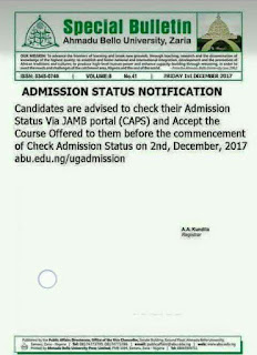 ABU Zaria 2017/2018 Notice On Admission Status Checking