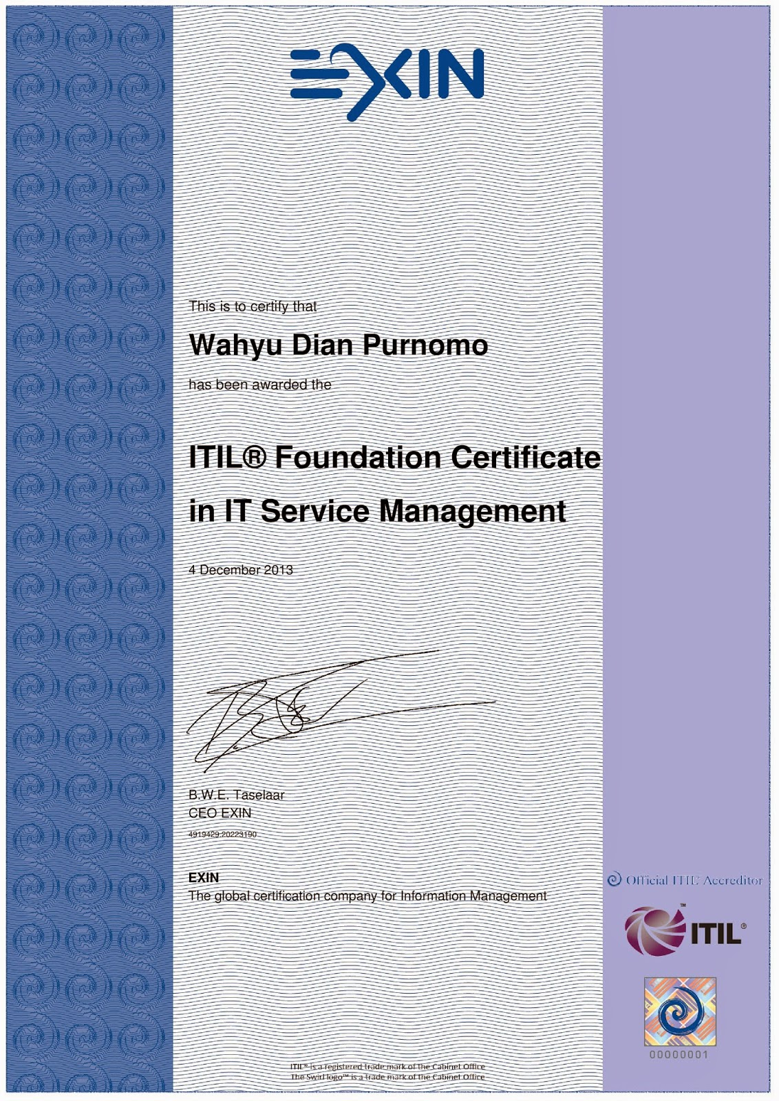 ITIL V3 Foundation Certificate in IT Service Management, 2013