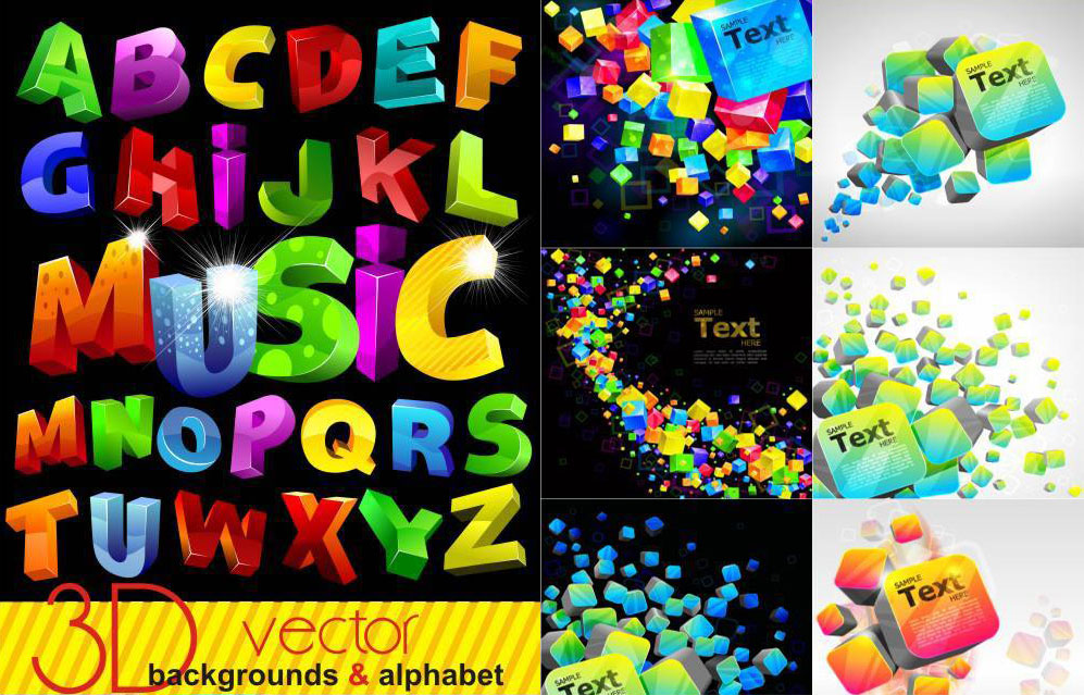 Colorful 3D Backgrounds and Alphabet   Vectorylab - Free ...