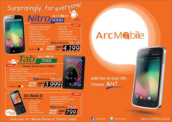 Arc Mobile Nitro 500D, Tab 710D and Basic II Price Drop with