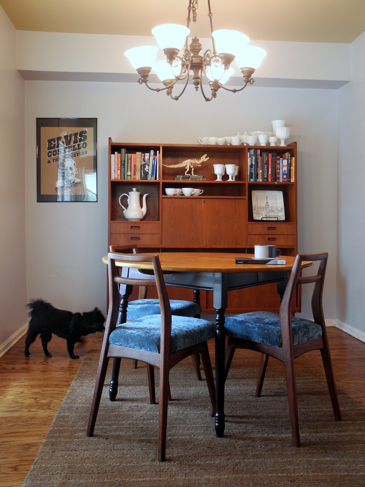 08 gray kitchen table Table Heywood Wakefield via Southern Thrift Wall Unit Chairs and Milk Glass Pre to Post Modern