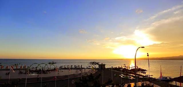 foto sunset di pantai seruni dan alun alun