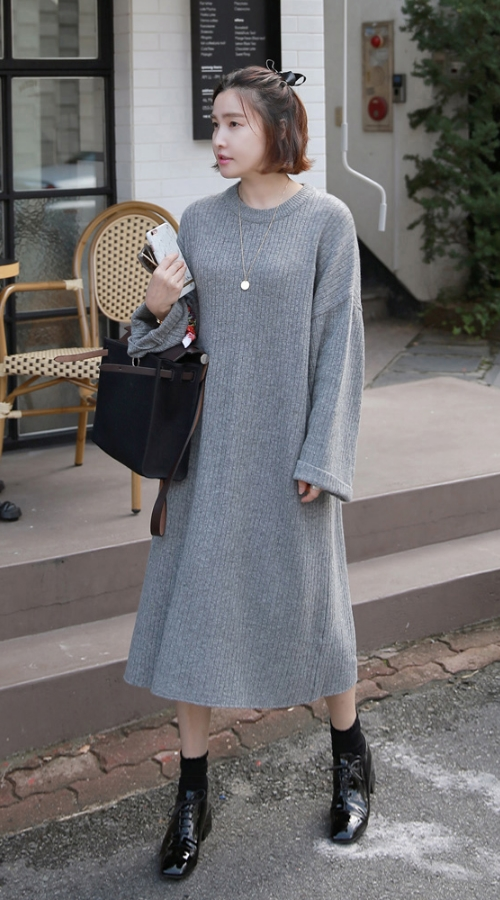 Ribbed Wide Sleeve Dress