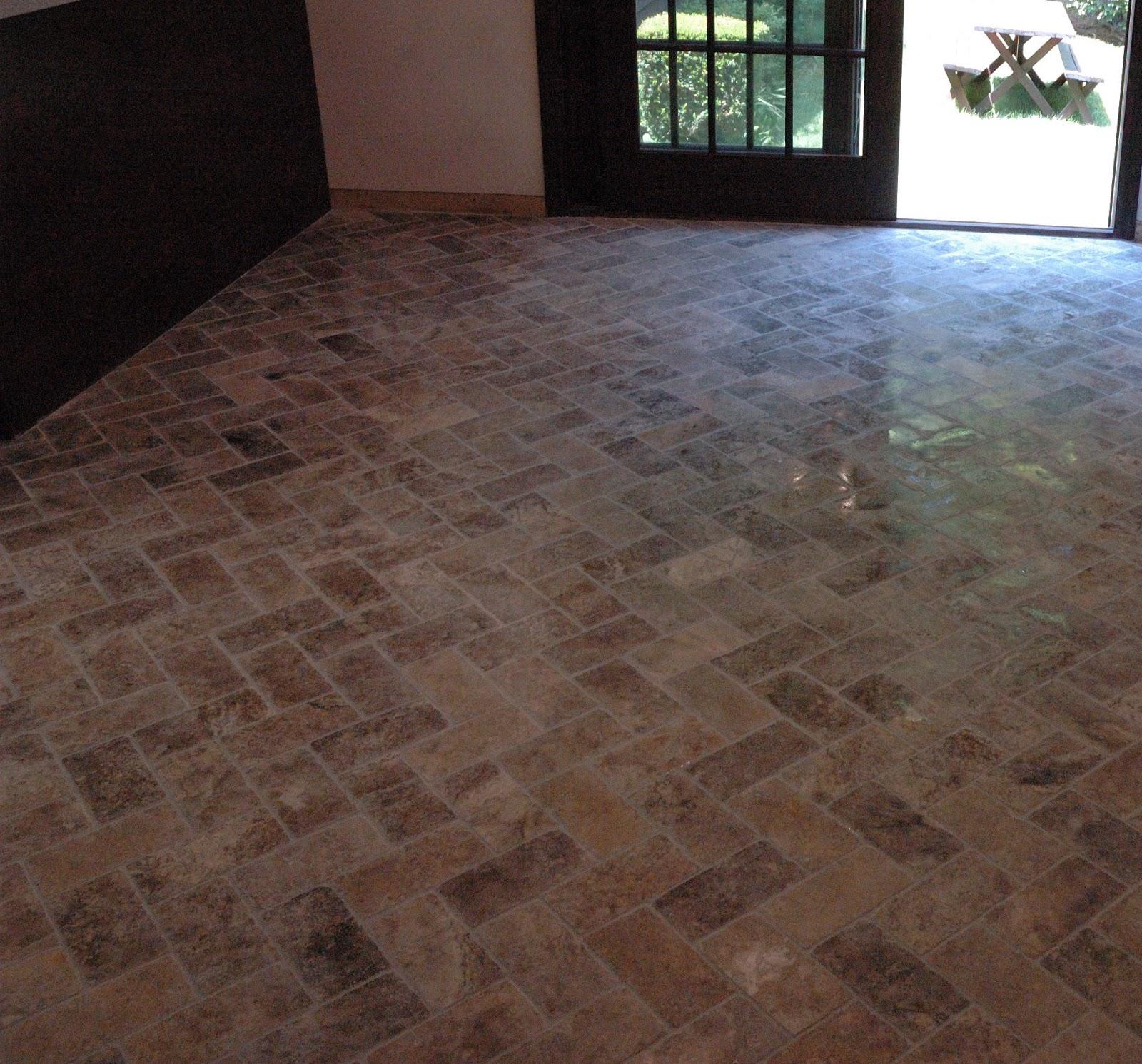 Custom Bathroom Remodeling: Natural Stone Herringbone Tile