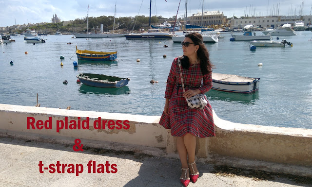plaid-dress-Rockstud-flats