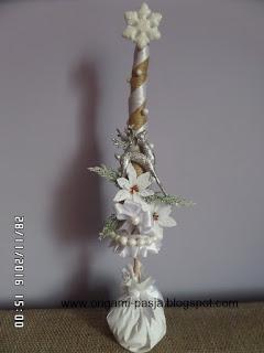 choinka, ze sznurka, z juty, gwiazda betlejemska, renifer, święta, handmade, biel, boże narodzenie