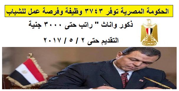 """الحكومة المصرية توفر 3743 وظيفة وفرصة عمل للشباب """" ذكور واناث """" راتب حتى 3000 جنية والتقديم حتى 2 / 5 / 2017"""