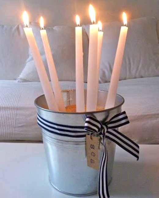 Christmas pale bucket candle holder with ribbon