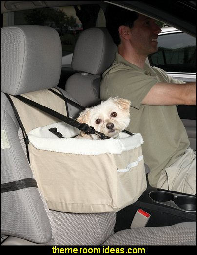 Portable Car Pet Booster Seat with Clip-On Safety Leash And Zipper Storage Pocket