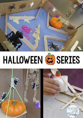 STEM Challenge: Based on Halloween- Haunted House Elevator, Haunted House Maze, and Pumpkin Launchers!