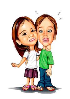 caricatura infantil de irmãos