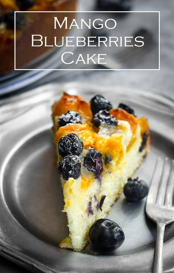 Mango and blueberries cake.  This easy mango and blueberries cake is delicious, fragrant cake with fresh summer fruits.