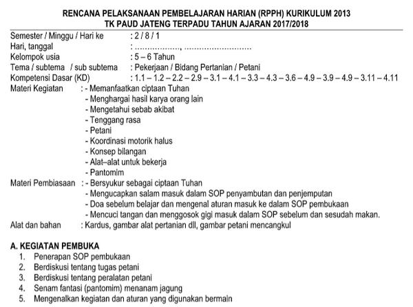 RPPH TK-B Kurikulum 2013 Semester 2 Pekerjaan Pekerjaan Bidang Pertanian, Pelayaran, Ekspedisi